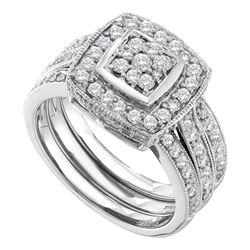 1 CTW Diamond Cluster 3-Piece Bridal Wedding Engagement Ring 14kt White Gold - REF-101H9W