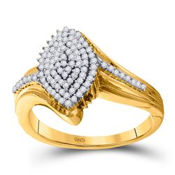 1/3 CTW Round Diamond Oval Cluster Ring 10kt Yellow Gold - REF-21F5M
