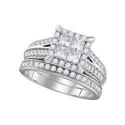 1 & 1/2 CTW Princess Diamond Bridal Wedding Engagement Ring 14kt White Gold - REF-153N5Y