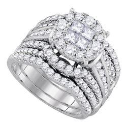 2 & 1/2 CTW Princess Diamond Bridal Wedding Engagement Ring 14kt White Gold - REF-228X3T