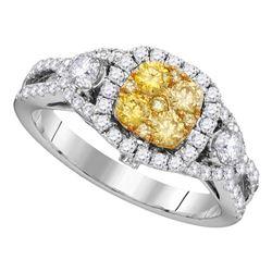 1 CTW Round Yellow Diamond Cluster Bridal Wedding Engagement Ring 14kt White Gold - REF-126H3W