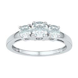 1 & 3/8 CTW Round Lab-Created White Sapphire 3-stone Ring 10kt White Gold - REF-10R2H