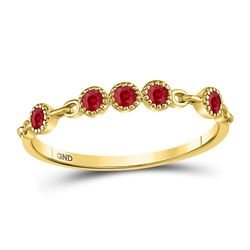 1/5 CTW Round Ruby Dot Stackable Ring 10kt Yellow Gold - REF-9H6W