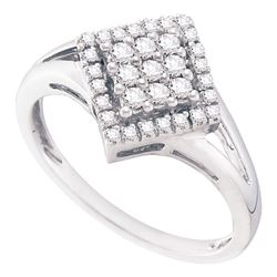 1/4 CTW Round Diamond Diagonal Square Cluster Ring 10kt White Gold - REF-20F3M