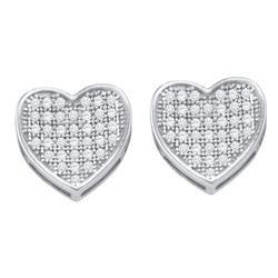 1/4 CTW Round Diamond Heart Cluster Earrings 10kt White Gold - REF-18R3H