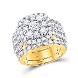 3 & 3/4 CTW Round Diamond Bridal Wedding Engagement Ring 14kt Yellow Gold - REF-299M9A