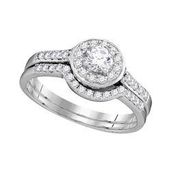 1/2 CTW Diamond Round Halo Bridal Wedding Engagement Ring 14kt White Gold - REF-57T5K