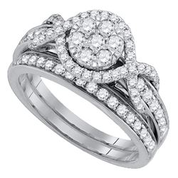 1 CTW Round Diamond Cluster Bridal Wedding Engagement Ring 14kt White Gold - REF-93X5T