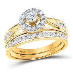 1/2 CTW Round Diamond Bridal Wedding Engagement Ring 10kt Yellow Gold - REF-47K9R