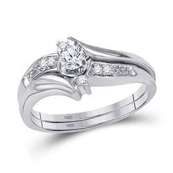 1/5 CTW Round Diamond Bridal Wedding Engagement Ring 10kt White Gold - REF-30T3K