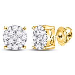 5/8 CTW Round Diamond Circle Cluster Earrings 10kt Yellow Gold - REF-35W9F