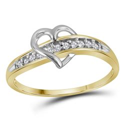 1/20 CTW Round Diamond Heart Ring 10kt Yellow Gold - REF-7M5A