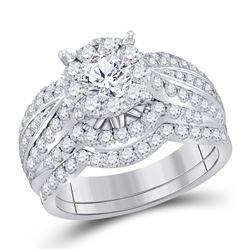 1 & 7/8 CTW Round Diamond Bridal Wedding Engagement Ring 14kt White Gold - REF-198T3K