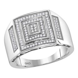 1/3 CTW Mens Round Pave-set Diamond Concentric Square Cluster Ring 10kt White Gold - REF-47T9K