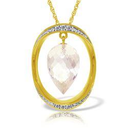 Genuine 12.35 ctw White Topaz & Diamond Necklace 14KT Yellow Gold - REF-112R8P
