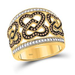 1/2 CTW Round Brown Diamond Joined Heart Ring 10kt Yellow Gold - REF-41T9K