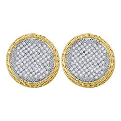 1 CTW Round Pave-set Diamond Circle Cluster Stud Earrings 10kt Yellow Gold - REF-47W9F