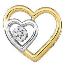 0.03 CTW Round Diamond Heart Pendant 10kt Yellow Gold - REF-5X9T