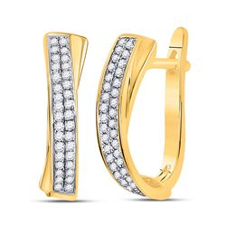 1/6 CTW Round Pave-set Diamond Hoop Earrings 10kt Yellow Gold - REF-16M8A