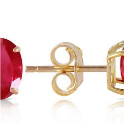 Genuine 1.80 ctw Ruby Earrings 14KT Yellow Gold - REF-20X9M