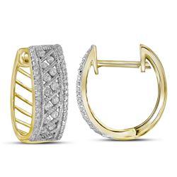 5/8 CTW Round Channel-set Diamond Hoop Earrings 10kt Yellow Gold - REF-39H6W