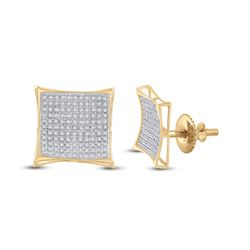 3/4 CTW Round Diamond Kite Cluster Earrings 10kt Yellow Gold - REF-27N5Y