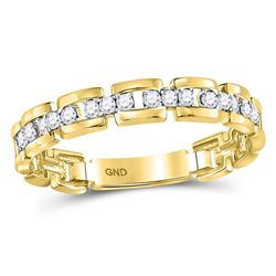 1/5 CTW Round Diamond Rolo Link Stackable Ring 10kt Yellow Gold - REF-16H8W