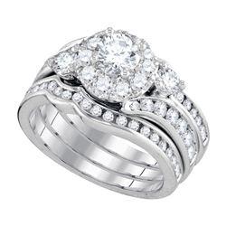 2 CTW Round Diamond 3-Piece Bridal Wedding Engagement Ring 14kt White Gold - REF-258T3K
