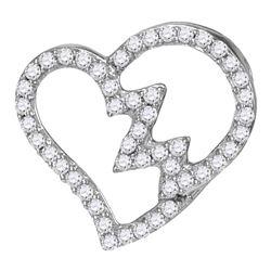 1/6 CTW Round Diamond Heartbeat Heart Outline Pendant 10kt White Gold - REF-9W6F