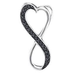 1/10 CTW Round Black Color Enhanced Diamond Vertical Infinity Heart Pendant 10kt White Gold - REF-7R