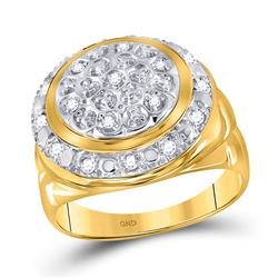 1/4 CTW Mens Round Diamond Circle Cluster Ring 10kt Yellow Gold - REF-33N3Y