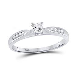 1/4 CTW Princess Diamond Solitaire Bridal Wedding Engagement Ring 14kt White Gold - REF-30F3M