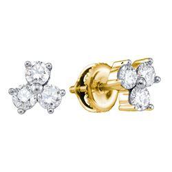 3/4 CTW Round Diamond 3-stone Earrings 14kt Yellow Gold - REF-60R3H