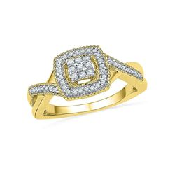 1/5 CTW Round Diamond Square Frame Cluster Twist Ring 10kt Yellow Gold - REF-24Y3X