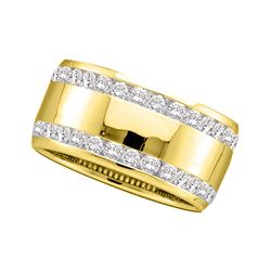 1 CTW Round Channel-set Diamond Double Row Wedding Ring 14kt Yellow Gold - REF-113M9A