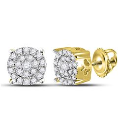 1/8 CTW Round Diamond Cindys Dream Cluster Earrings 10kt Yellow Gold - REF-13F2M