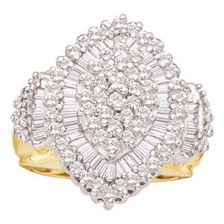 1 CTW Round Baguette Diamond Concentric Oval Cluster Ring 10kt Yellow Gold - REF-45K3R