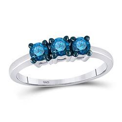 1/2 CTW Round Blue Color Enhanced Diamond 3-stone Bridal Wedding Ring 10kt White Gold - REF-21H5W
