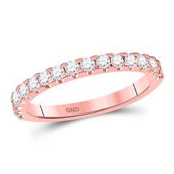 1/2 CTW Round Diamond Wedding Machine-Set Ring 14kt Rose Gold - REF-41M9A