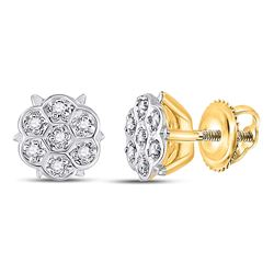 1/20 CTW Round Prong-set Diamond Cluster Stud Earrings 10kt Yellow Gold - REF-5R9H