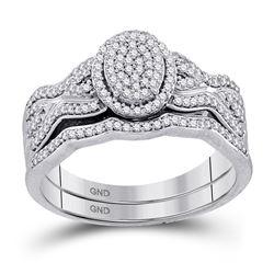 3/8 CTW Round Diamond Oval Cluster Bridal Wedding Engagement Ring 10kt White Gold - REF-35T9K