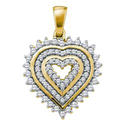 1/3 CTW Round Diamond Concentric Heart Pendant 10kt Yellow Gold - REF-21R5H