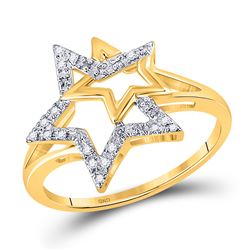 1/10 CTW Round Diamond Double Star Outline Ring 10kt Yellow Gold - REF-9F6M