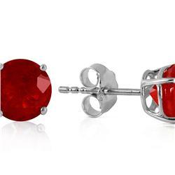 Genuine 0.95 ctw Ruby Earrings 14KT White Gold - REF-20M4T