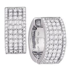 1 & 5/8 CTW Round Diamond Huggie Earrings 10kt White Gold - REF-113N9Y
