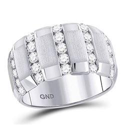 1 & 1/2 CTW Mens Round Diamond Striped Matte Wedding Ring 14kt White Gold - REF-162T3K