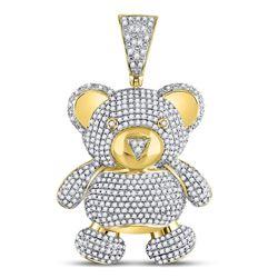 2 CTW Mens Round Diamond Teddy Bear Charm Pendant 10kt Yellow Gold - REF-99H5W