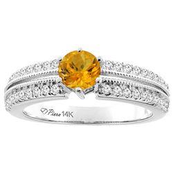 1.10 CTW Citrine & Diamond Ring 14K White Gold - REF-66M9A