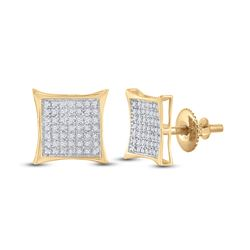 1/3 CTW Round Diamond Kite Square Earrings 10kt Yellow Gold - REF-14R4H