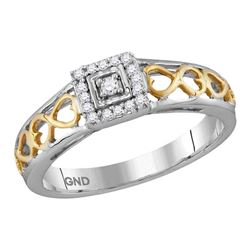 1/10 CTW Round Diamond Solitaire Bridal Wedding Engagement Ring 10kt Two-tone Gold - REF-11K9R
